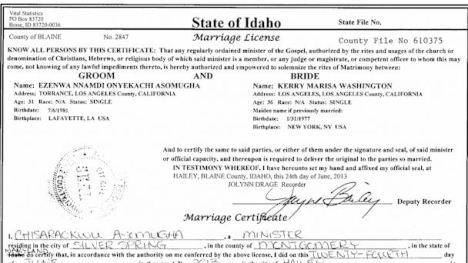 Kerry Washington Nnamdi Asomugha Marriage License