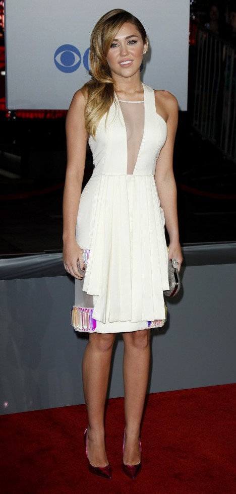 Miley Cyrus White David Koma Dress People's Choice Awards