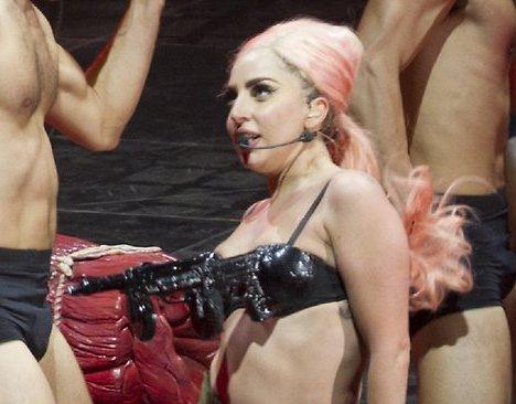 Gaga Wears Gun Bra