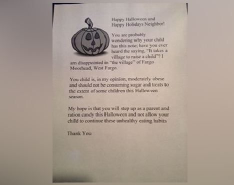Halloween 'Fat Letters' to be Handed Out to Overweight Children Instead of Candy on Halloween by North Dakota Woman