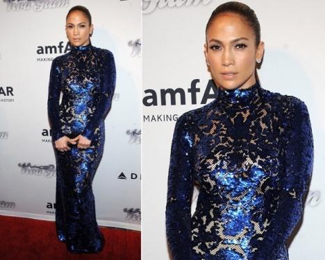 Jennifer Lopez Figure Hugging Dress at amfAR Inspiration Gala