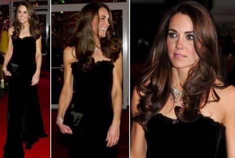 Kate Middleton Alexander McQueen Black Velvet Dress