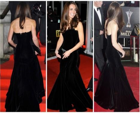 Kate Middleton Black Strapless Alexander McQueen Gown