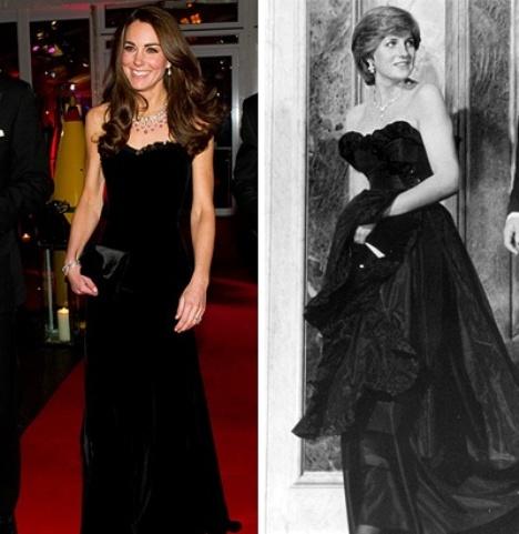 Kate Middleton Black Strapless Velvet Alexander McQueen Gown